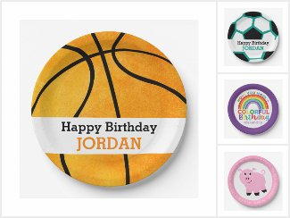 Personalized Birthday Party Paper Plates