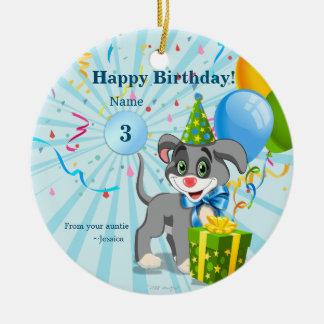 Personalized Birthday Puppy Cartoon Ceramic Ornament