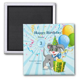 Personalized Birthday Puppy Cartoon Magnet