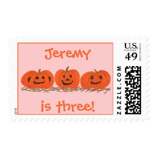 Personalized Birthday Stamps with Three Pumpkins