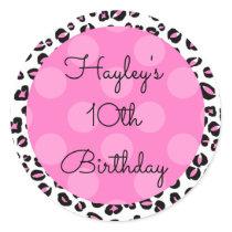 Personalized Birthday Sticker, Pink Animal Print Classic Round Sticker