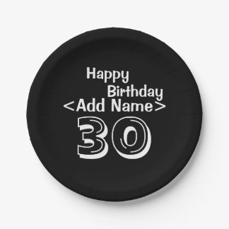 Personalized Black 30th Birthday Paper Plates