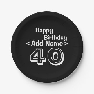 Personalized Black 40th Birthday Paper Plates