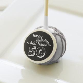 Personalized Black 50th Birthday Cake Pops