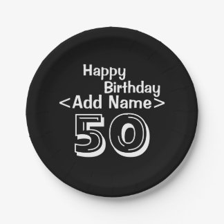 Personalized Black 50th Birthday Paper Plates