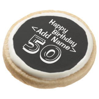 Personalized Black 50th Birthday Round Shortbread Cookie