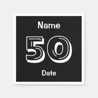 Personalized Black 50th Birthday Paper Napkin