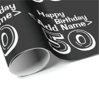 Personalized Black 50th Happy Birthday Wrapping Paper