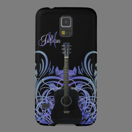 Personalized Black Acoustic Guitar Galaxy S5 Case