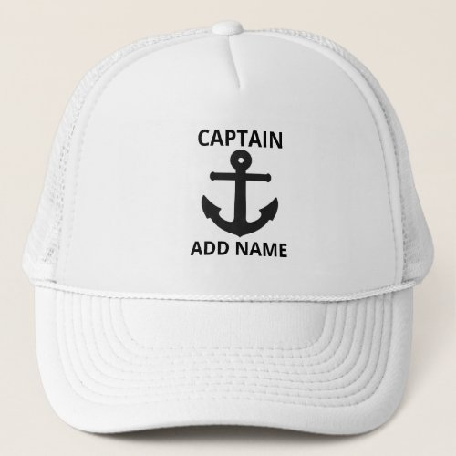 Personalized Black Anchor Captain Name Trucker Hat