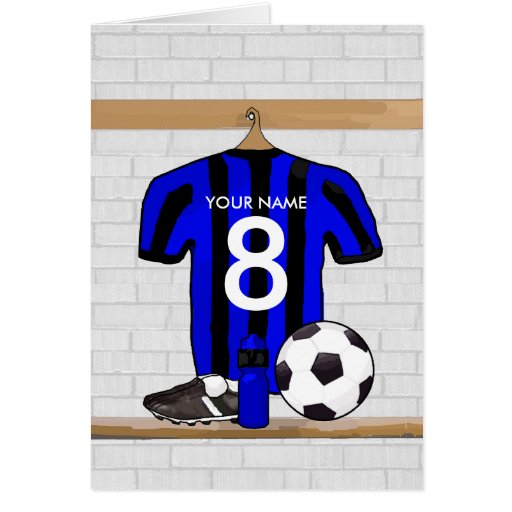 Personalized Black and Blue Football Soccer Jersey Card