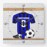 Personalized Black and Blue Football Soccer Jersey Square Wallclock