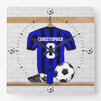 Personalized Black and Blue Football Soccer Jersey Square Wall Clock