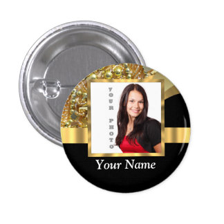 Personalized black and gold button