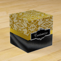 Personalized Black and Gold Damask Cube Box