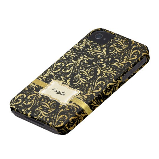 Personalized Black and Gold Damask iPhone 4 Case