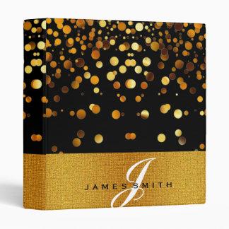 Personalized Black and Gold Faux Confetti Glitter Binder