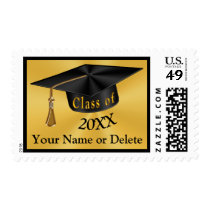 Personalized Black and Gold Graduation Stamps