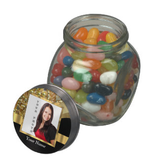Personalized black and gold jelly belly candy jar