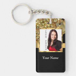 Personalized black and gold keychain