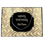 Personalized Black and Gold Large Gift Bag
