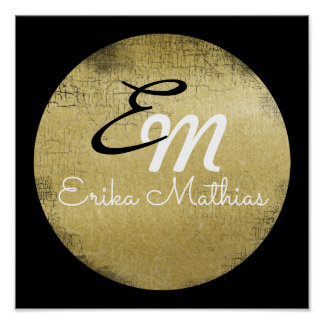 personalized black and gold monogram poster