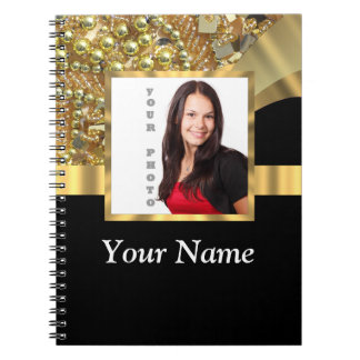 Personalized black and gold note book