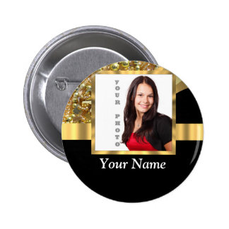 Personalized black and gold pinback button