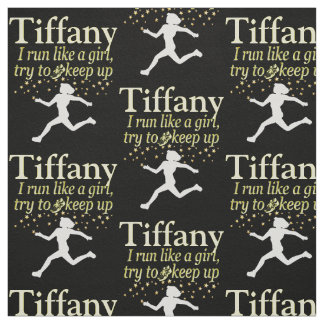 PERSONALIZED BLACK AND GOLD RUNNER GIRL FABRIC