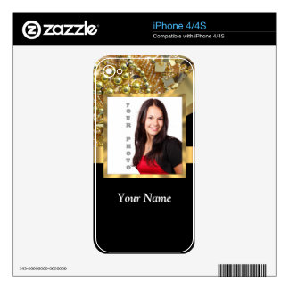 Personalized black and gold skins for the iPhone 4