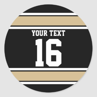 Personalized Black and Gold Sports Stripes Classic Round Sticker