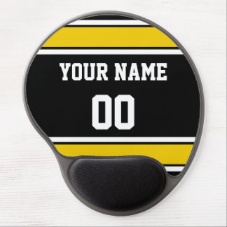 Personalized Black and Gold Sports Stripes Gel Mouse Pad