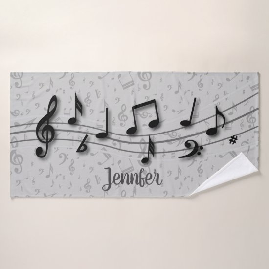 Personalized Black and Gray Music Notes Bath Towel Set