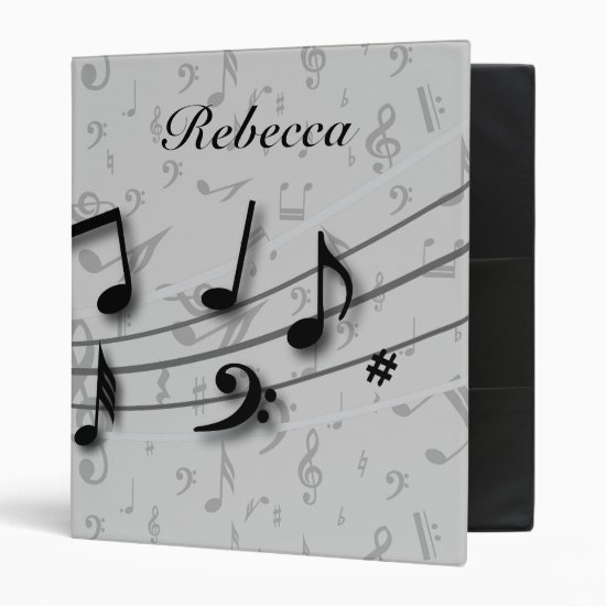 Personalized Black and Gray Musical Notes 3 Ring Binder