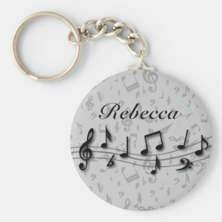 Personalized Black and Gray Musical Notes Basic Round Button Keychain
