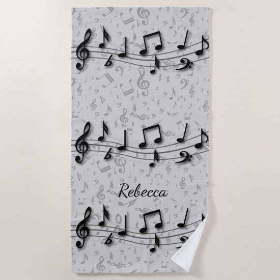 Personalized black and gray musical notes beach towel