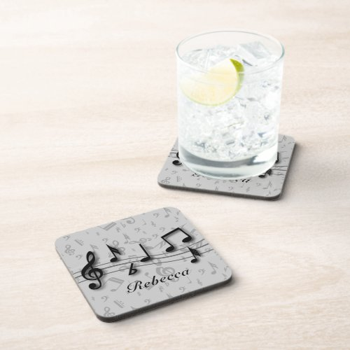 Personalized black and gray musical notes beverage coaster
