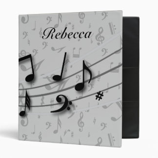 Personalized Black and Gray Musical Notes Binder