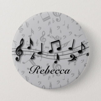 Personalized black and gray musical notes button