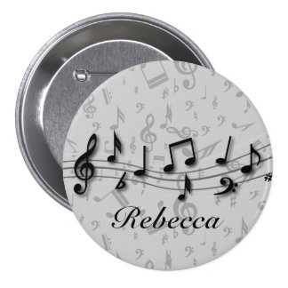 Personalized black and gray musical notes buttons