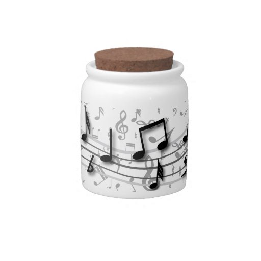 Personalized black and gray musical notes candy jars
