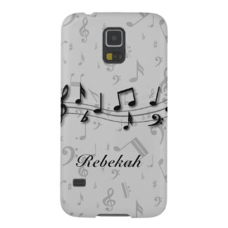 Personalized black and gray musical notes galaxy s5 cover