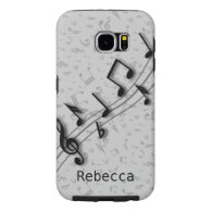 Personalized black and gray musical notes samsung galaxy s6 cases