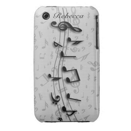 Personalized black and gray musical notes iPhone 3 Case-Mate case