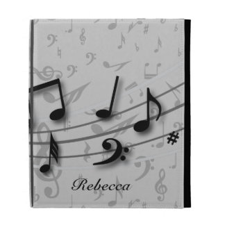 Personalized Black and Gray Musical Notes iPad Folio Cover