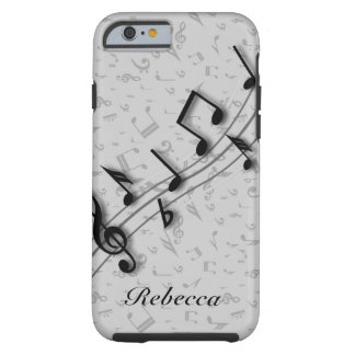 Personalized Black and Gray Musical Notes Tough iPhone 6 Case