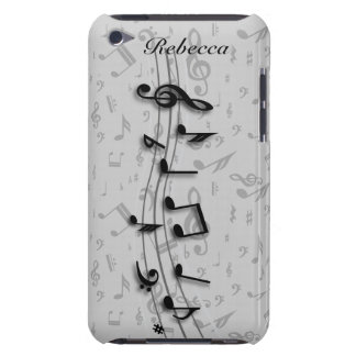Personalized black and gray musical notes Case-Mate iPod touch case
