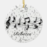 Personalized Black and Gray Musical Notes Ceramic Ornament