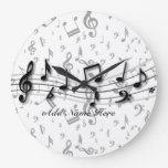 Personalized Black and Gray Musical Notes Clocks