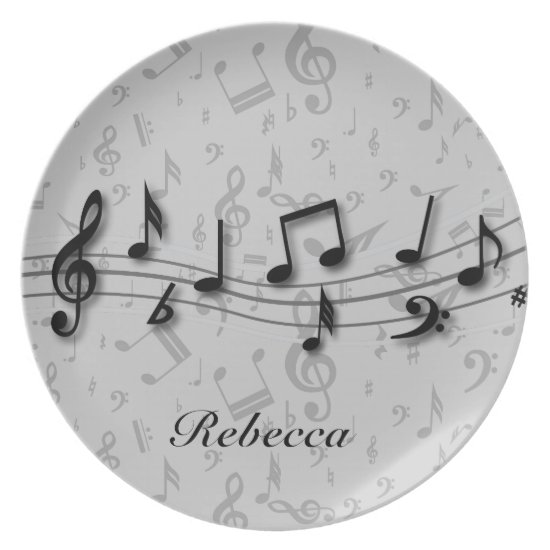 Personalized black and gray musical notes dinner plate